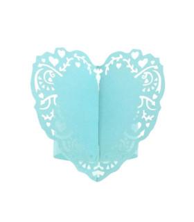 Rond de serviette mariage,baptême Coeur Bleu Ciel 12 pcs