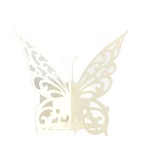 Rond de serviette mariage,baptême Papillon chic Blanc 12 pcs