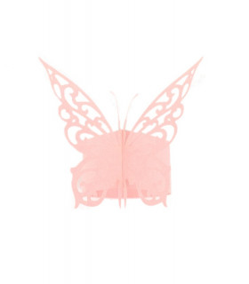 Rond de serviette mariage,baptême Papillon chic Rose 12 pcs