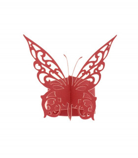 Rond de serviette mariage,baptême Papillon chic Rouge 12 pcs