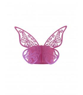 Rond de serviette mariage,baptême Papillon Fuchsia 12 pcs