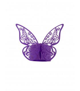 Rond de serviette mariage,baptême Papillon Violet 12 pcs