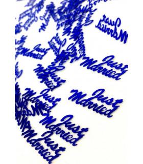 """Confettis de table """"Just Married"""" 10mm Bleu Électrique"""