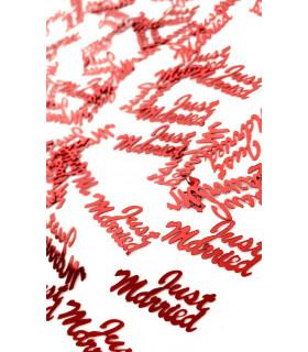 Confettis de table Just Married 10mm Rouge