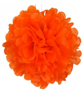 Pompon deco salle papier de soie Orange