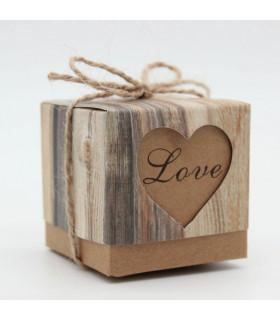 Contenant dragées Love avec ficelle Kraft 10 pcs