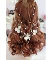coiffe mariée bijoux cheveux perle, Fleurs Blanche