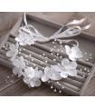 coiffe mariée couronne cheveux perle, fleurs Blanc Et Argenté