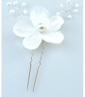 coiffe mariée Epingle cheveux fleur et perles Blanche