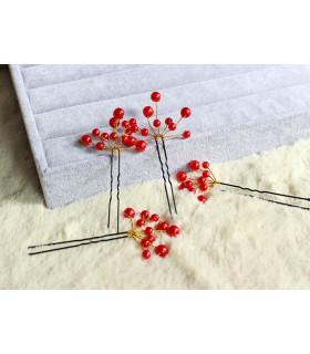 coiffe mariée Epingle cheveux perles Rouge 6 pcs