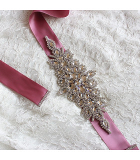 Ceinture satin strass Old Pink