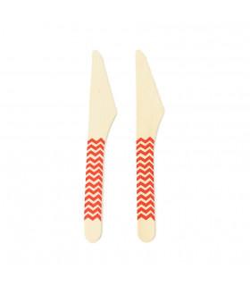 Couteaux bois motif chevrons jetable, eco-friendly Rouge 10 pcs