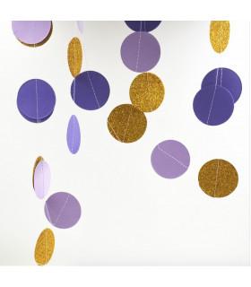 Guirlande tricolore deco murale Parme/Violet/Or