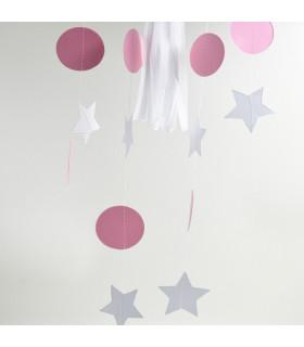 Guirlande rondelle/Etoile Bicolore deco murale Rose/Blanc