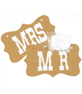 Pancarte Mr et Mrs deco salle, animation Kraft 2 pcs