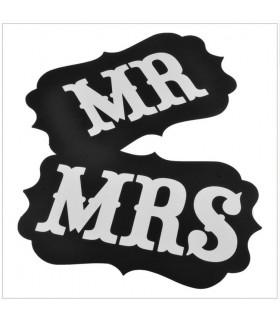 Pancarte Mr et Mrs deco salle, animation Noir 2 pcs