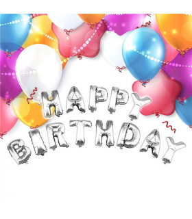 Ballon Anniversaire Happy Birthday deco salle, animation Argent