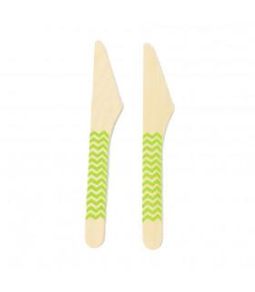 Couteaux bois motif chevrons jetable, eco-friendly Vert 10 pcs