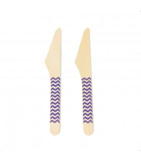 Couteaux bois motif chevrons jetable, eco-friendly Violet 10 pcs