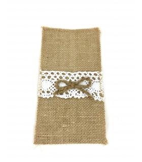 Pochette à couvert jute naturelle et dentelle avec noeud Ficelle 4 pcs