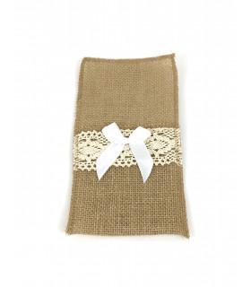 Pochette à couvert jute naturelle et dentelle avec noeud en ruban blanc 4 pcs