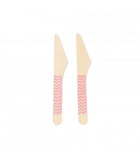 Couteaux bois motif chevrons jetable, eco-friendly Rose 10 pcs