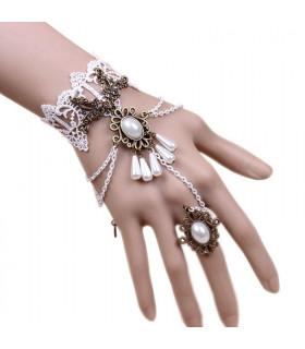 Bijoux mariée bracelet et bague dentelle Blanc