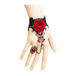 Bijoux bracelet et bague Rose Rouge-Noir