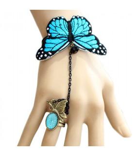 Bijoux bracelet et bague papillon Bleu
