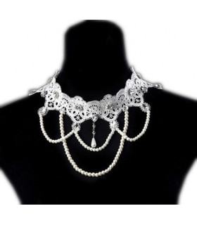 Bijoux collier dentelle et perles Blanche