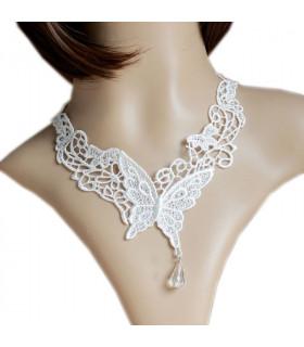 Bijoux collier dentelle papillon Blanche
