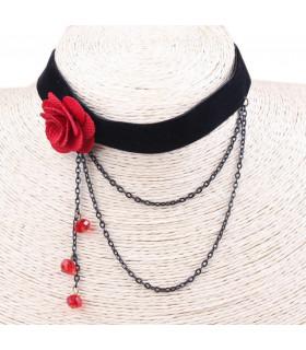 Bijoux collier rose rouge et fine chaine Noir
