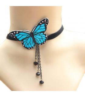 Bijoux collier papillon elfique Bleu