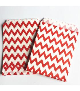Sachet motif chevron papier Rouge 25 pcs