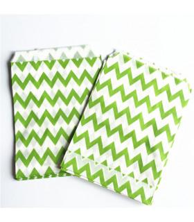 Sachet motif chevron papier Vert Lime 25 pcs