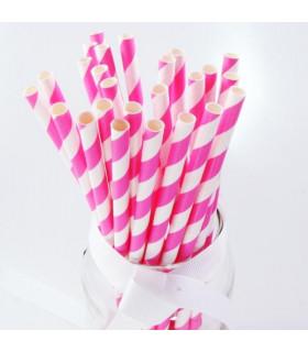 Pailles rayées en papier Rose Bonbon Et Blanc 25 pcs