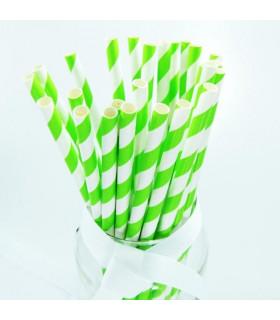 Pailles rayées en papier Vert Lime Et Blanc 25 pcs
