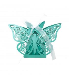 Contenant dragées papillon Turquoise 10 pcs - fin de série