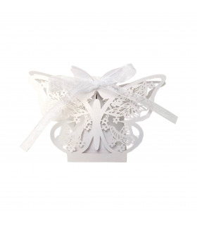 Contenant dragées papillon baptême, mariage Blanc 10 pcs