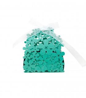 Contenant dragées Florale baptême, mariage Turquoise 10 pcs