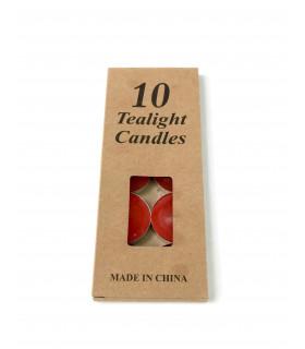 Boite de 10 bougies coloré pour photophore Rouge