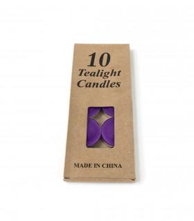 Boite de 10 bougies coloré pour photophore Violet