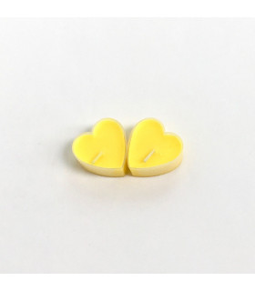 Boite de 9 bougies parfumé citron en forme de coeur Jaune
