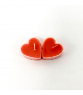 Boite de 9 bougies parfumé fraise en forme de coeur Rouge