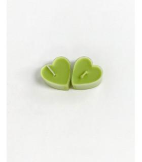 Boite de 9 bougies parfumé pomme en forme de coeur Vert