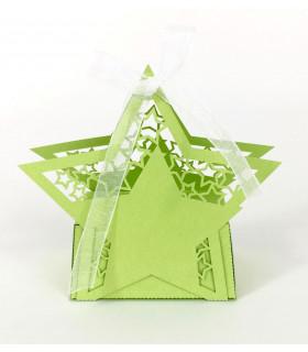 Contenant dragées étoile baptême, mariage Vert Pomme 10 pcs