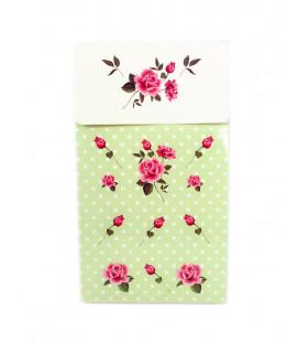 Sachet vintage motif floral Vert 6 pcs