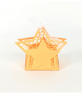 Contenant dragées étoile baptême, mariage Orange 10 pcs