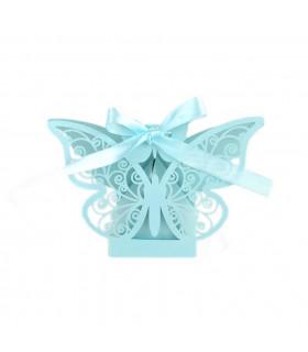 Contenant dragées papillon baptême, mariage Bleu Ciel 10 pcs