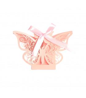 Contenant dragées papillon baptême, mariage Rose 10 pcs